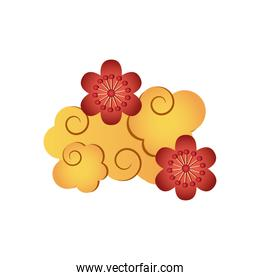 oriental cloud and flowers icon, detailed style
