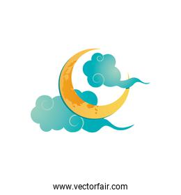 oriental clouds and half moon icon, detailed style