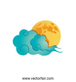 oriental cloud and moon icon, detailed style