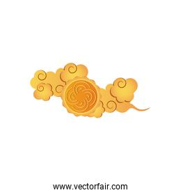 yellow oriental cloud icon, detailed style