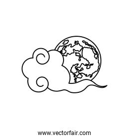 mid autumn concept, oriental cloud and earth planet icon, line style