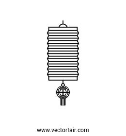icon of chinese lamp, line style