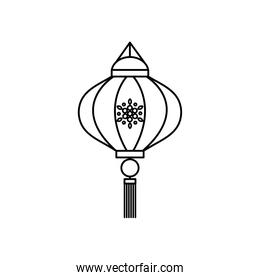 mid autumn concept, chinese lantern with decorative ornament, line style