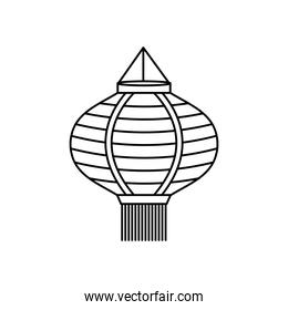 mid autumn concept, chinese lamp icon, line style