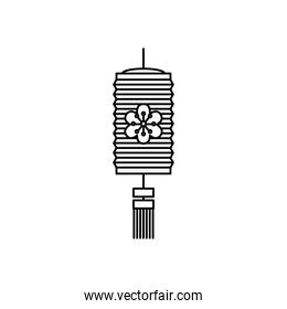 mid autumn concept, floral chinese lamp icon, line style