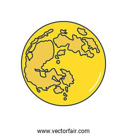 earth planet icon, line fill style