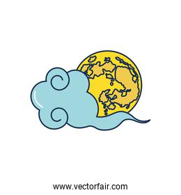 mid autumn concept, oriental cloud and earth planet icon, line fill style
