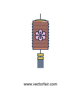 mid autumn concept, floral chinese lamp icon, line fill style