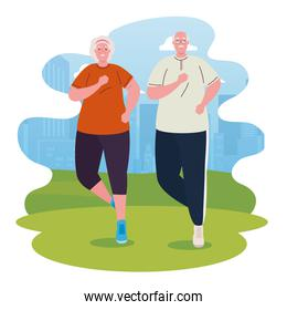 cute old couple running outdoor, sport and exercise concept