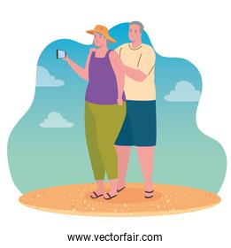 cute old couple taking a selfie with smartphone