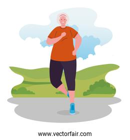 cute old woman running in outdoor, sport and recreation concept