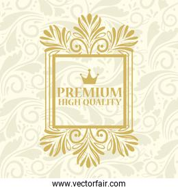high quality, premium product label in gold square frame decoration