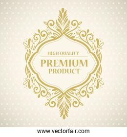 high quality, premium product label in gold frame decoration