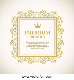 premium product label in gold frame decoration
