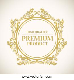 high quality, premium product label in gold round frame decoration