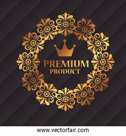 premium product label in gold frame of flowers decorative