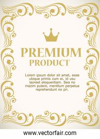premium product label with luxury gold frame decorative