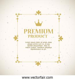 premium product label with luxury gold square frame decoration