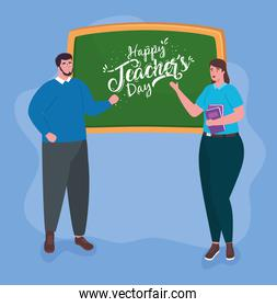 happy teachers day, with teacher couple and chalkboard
