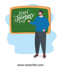happy teachers day, with man teacher and chalkboard