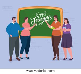 happy teachers day, with group of teachers and chalkboard
