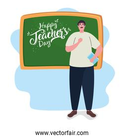 happy teachers day, with chalkboard and man teacher