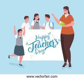 happy teachers day, with woman teacher and group students