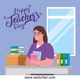 happy teachers day, with woman teacher in desk and books