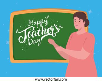 happy teachers day, with chalkboard and woman teacher