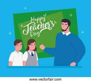 happy teachers day, with man teacher and cute students