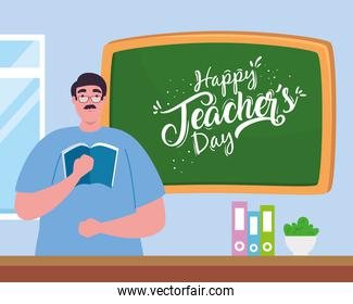 happy teachers day, with man teacher, chalkboard and books