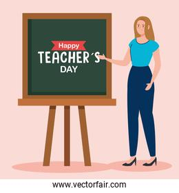 happy teachers day, and woman teacher with chalkboard