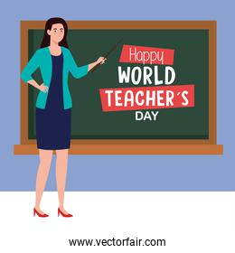 happy teachers day, and young woman teacher with chalkboard