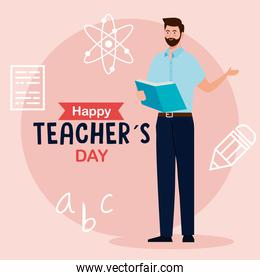 happy teachers day, and man teacher reading book with education icons