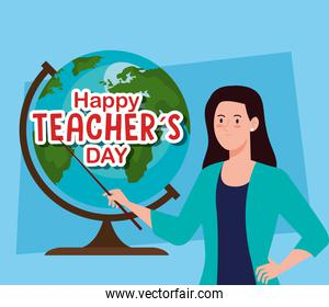 happy teachers day, and woman teacher with globe earth
