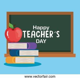 happy teachers day, chalkboard with pile books and apple