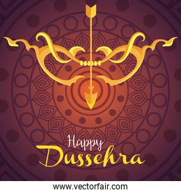happy dussehra festival, golden arrow and arch with mandala on background