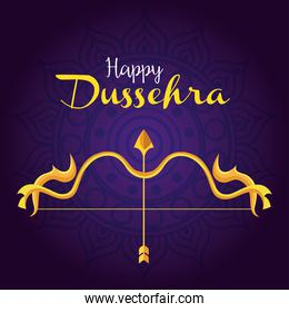 happy dussehra festival with golden arrow and arch in purple background