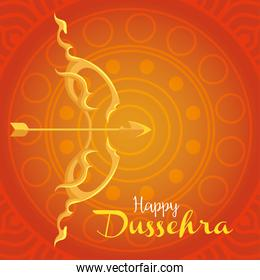 happy dussehra festival with golden arch and arrow on orange background
