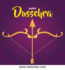 happy dussehra festival and golden arrow and arch over purple