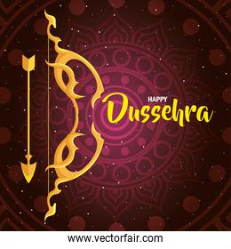 happy dussehra festival, golden arch and arrow with mandala on background