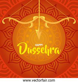 happy dussehra festival with golden arch and arrow in orange background