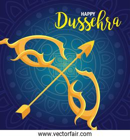 happy dussehra festival with golden arrow on blue background