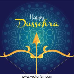 happy dussehra festival with golden arrow in blue background