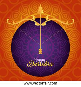 happy dussehra festival, with golden arrow and arch on orange and purple background