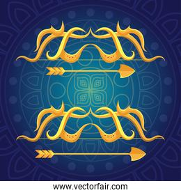 happy dussehra festival with golden arrows in blue background