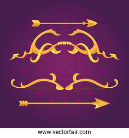 happy dussehra festival with golden arrows of decoration