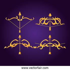 happy dussehra festival, with golden arrows and arches