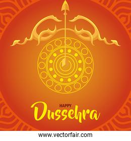 happy dussehra festival with golden arch and arrow over orange background