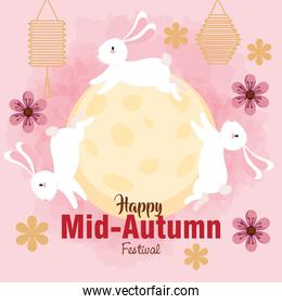 chinese mid autumn festival with rabbits, full moon, flowers and lanterns hanging